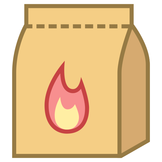 Węgiel drzewny icon. This is a picture of a bag that appears to be paper. on the front of it is a flame and you can see the top of it is perforated but closed shut. it's a front view of the bag but you can see the side of it as well