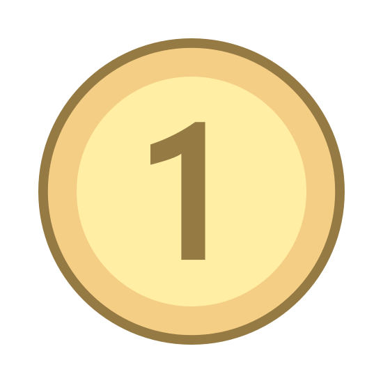 Cheap icon. The icon shows a circle that could represent a coin with the number one in large print. The coin seems to represent a small denomination of currency or a low amount.