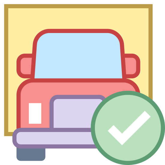 Delivered icon. There is the front-facing side of a large delivery truck, not quite semi-sized but resembles something close to a 24ft moving truck. Placed over the truck is a circle with a check mark in it.