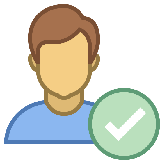 Checked User Male icon. The icon consists of the portrait outline of a humanoid figure with short hair and diminished facial features. At the lower right corner of the portrait is a check mark. The icon represents a male user who has been selected by the user for some arbitrary purpose.