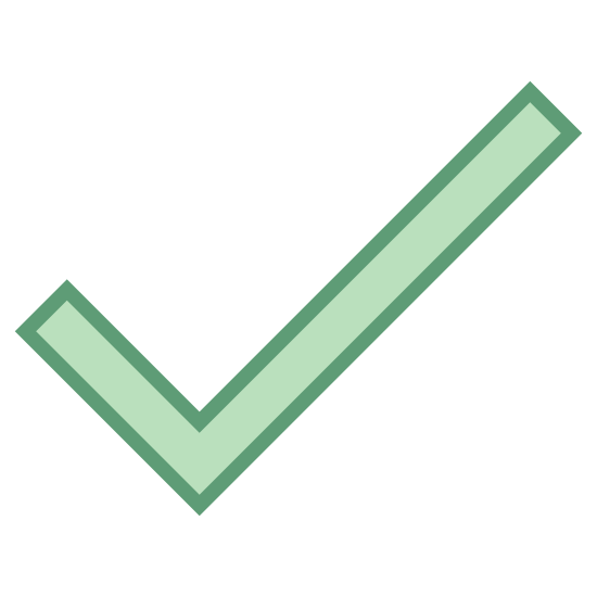 Häkchen icon. This is a very simple icon that looks just like a check mark. It is two lines of different lengths that come together to form a point. It's the same shape people use when they are checking the box on a questionnaire.