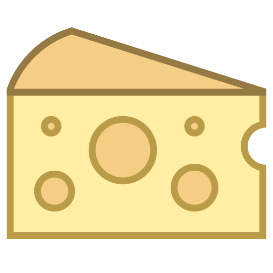 Ser icon. This is a picture of a block of cheese. It appears to be swiss cheese, as it has many holes in it. There are 5 holes in total, and a small hole in front that almost looks like a bite has been taken out. It is just a single triangular shaped block.