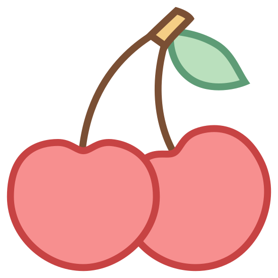 Cherry icon. It's a log of a couple of cherries. Two cherry rounds are connected by stem to a central stem from which they dangle. The central stem has a tiny leaf protruding from it.