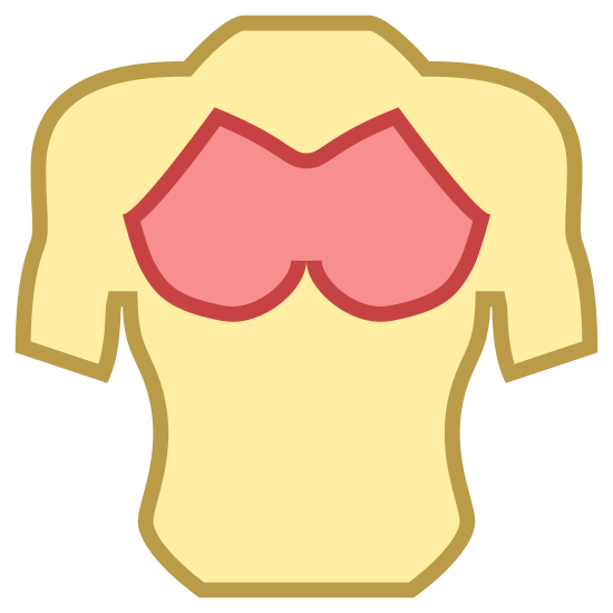 "Klatka piersiowa icon. It is a muscular and toned male chest. Deltoid, biceps and pectoral muscles are defined, as is the ""cut"" on both sides of the abdomen. The arms extend to the elbows. Chest hair is indicated over the pectoral muscles."