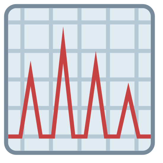 Chromatografia icon. This is an image of a square. Inside of the square is a line which looks like a heart rate monitor chart. There are four peaks on this line and they are all of varying sizes.