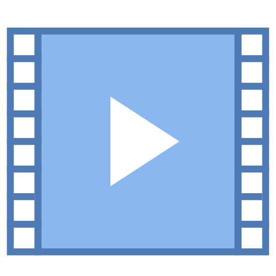"Cinema  icon. This is a black and white outline of a film strip, with the holes on each side of the film. In the center is a triangular ""play"" button pointing to the right."