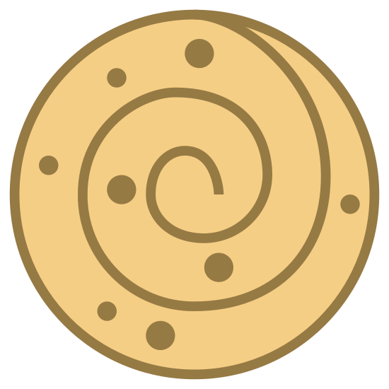 Cinnamon Roll icon. A drawing that looks similar to a snail shell. Its outline is a circle and there's a single spiral that ends in the center of the circle. There are also three pairs of dots inside the spiral, two near the top, and two near the bottom, and then another single dot sitting near the very bottom of the circle.