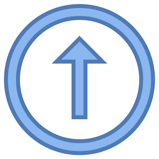 Scroll Up icon. This is a circle with a line in the center of it. The arrow has V on the top side of it. The V is upside down, and the line is connected to the V at its center point, similar to an arrow.