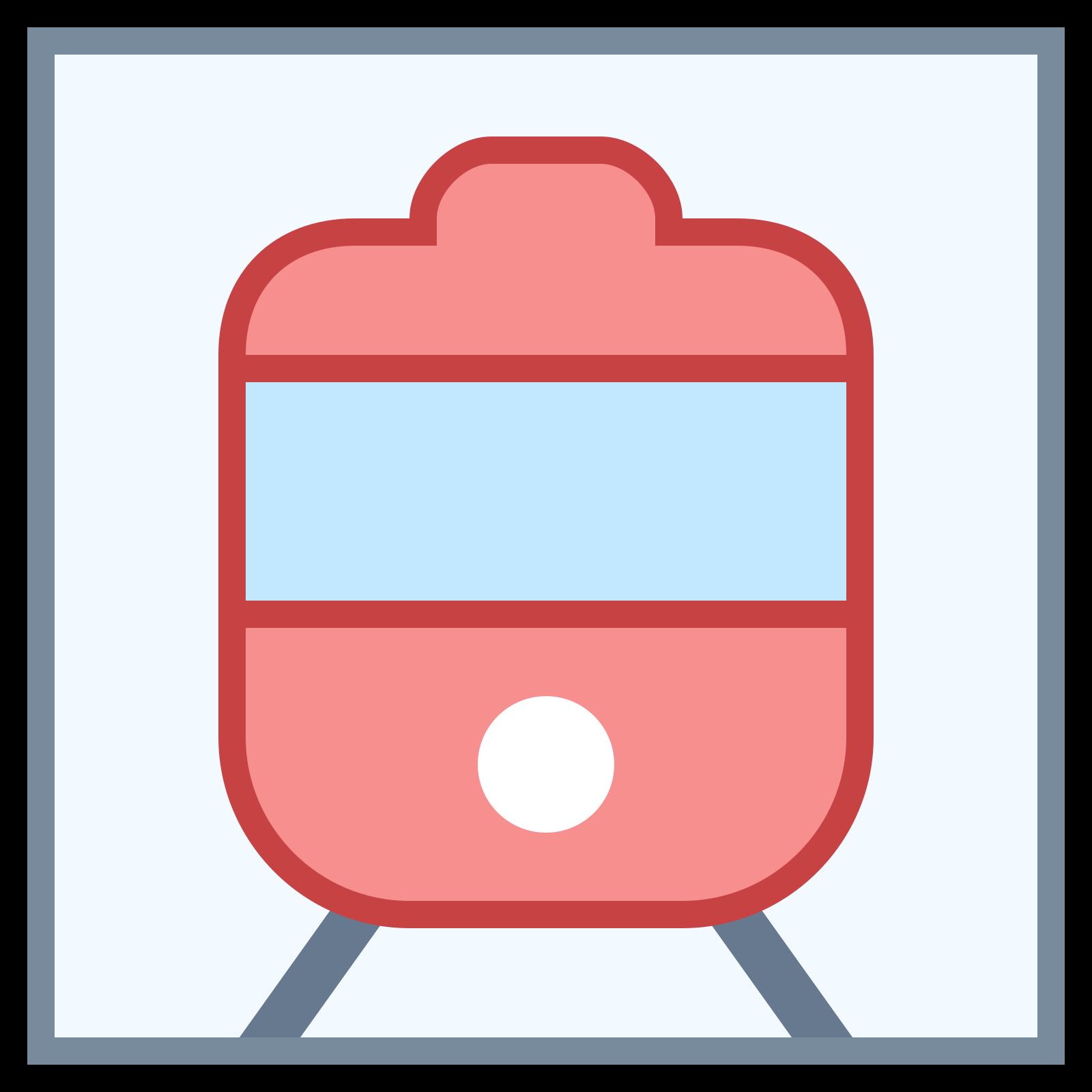 城站火车站 icon. The icon has two parts.  It starts with a square. In the middle of the square is a picture of a train. At the bottom of the train toy can see a little bit of trac.