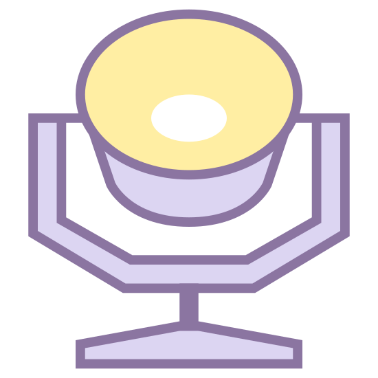 Clay Paky icon. This is a picture of a clay pot sitting on top of a table. you are looking at the table from an upward view. you can only see one leg of the table, and you can see straight inside of the pot.