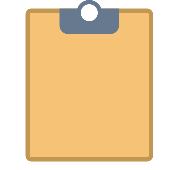 Clipboard icon. The icon is a picture of a clipboard. The icon is in the shape of a rectangle. The icon has 3 lines in parallel to eachother horizontally in the center. This is to simulate writing on the clipboard.