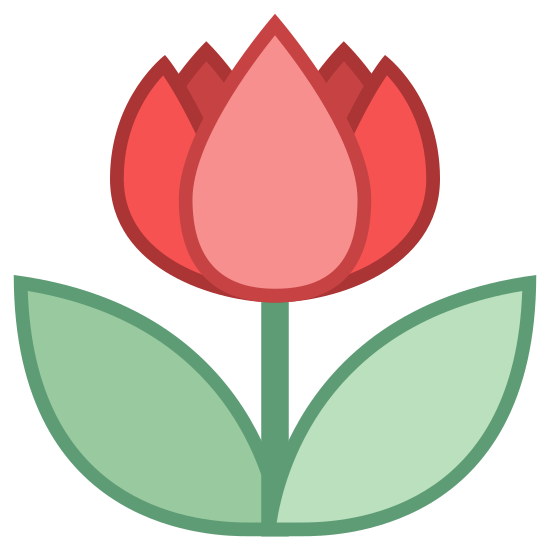 Tryb makro icon. The icon is a picture for close up mode. It is the shape of a flower, with one leaf on each side.