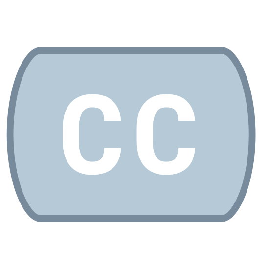 Closed Captioning icon. This icon is depicting the closed captioning or subtitling feature associated with video content for foreign language or the hard of hearing. The icon is depicted as two capital C's directly next to each other.