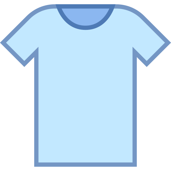 Clothes icon. This image is a picture of a short sleeve T-shirt.  This shirt's sleeves hit above the elbow and it has a rounded neck. The hem of this shirt fits right at the waist.  This style of T-shirt doesn't have a pocket.