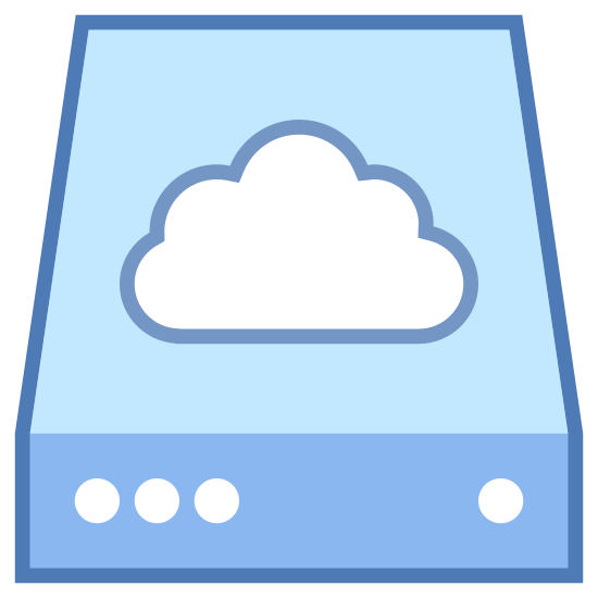 Armazenamento na núvem icon. This icon is a rectangular shape meant to represent an external hard drive. There is a little circle in the front right corner that represents the power light, and there is a small cloud shape hovering just above the back of the hard drive.