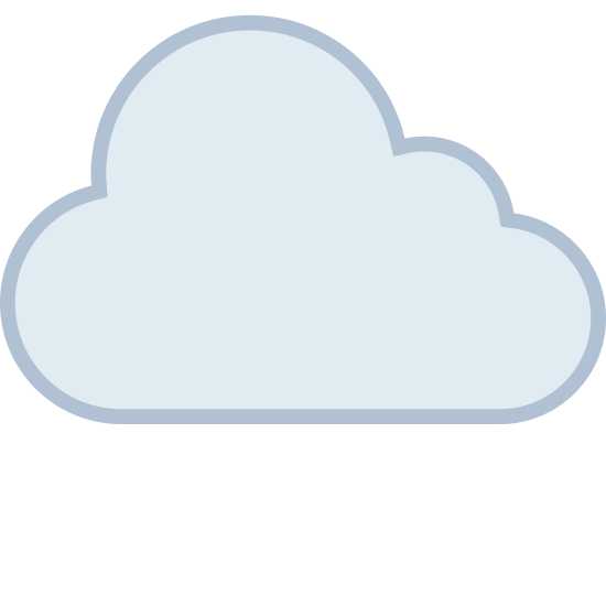 Clouds icon. It is a very simplified looking cloud. It is composed of the intersection of three circles and a rectangle, forming a shape not unlike a lumpy cumulus cloud.