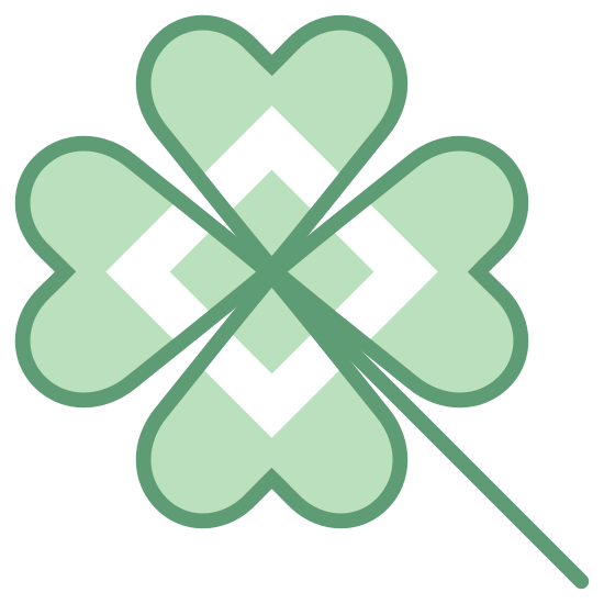 Clover icon. This is a picture of a four-leaved clover. It has a small stem coming out from it's bottom right hand side. The clovers are almost heart shaped, but also kind of squarely shaped.