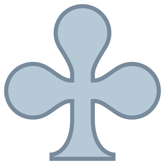 Clubs icon. This is a picture of a club like the kind that you play in cards. It almost looks like a three-leaf clover. It's top three sides are rounded out, and the bottom is a small triangular shaped base.