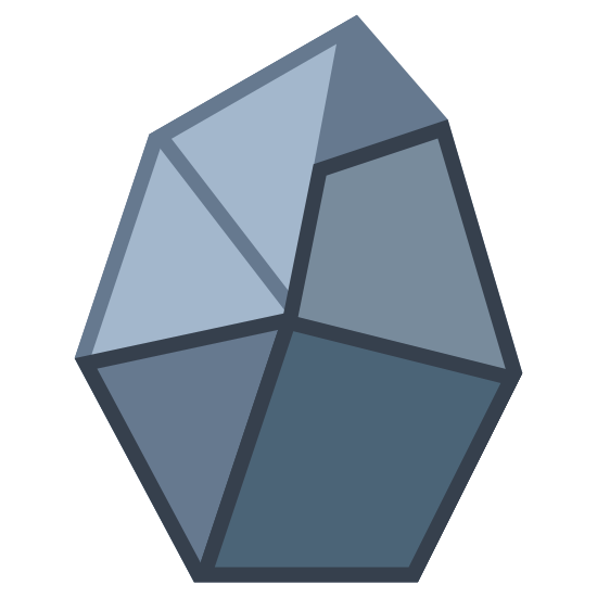 Coal icon. The icon is a very jagged rock. Three facets are visible, forming a jagged triangle, quadrilateral and a pentagonal facet. The outside is also very angular and possessing of six uneven sides. The icon represents coal, a dark substance harvested from the earth in order to use for power generation.