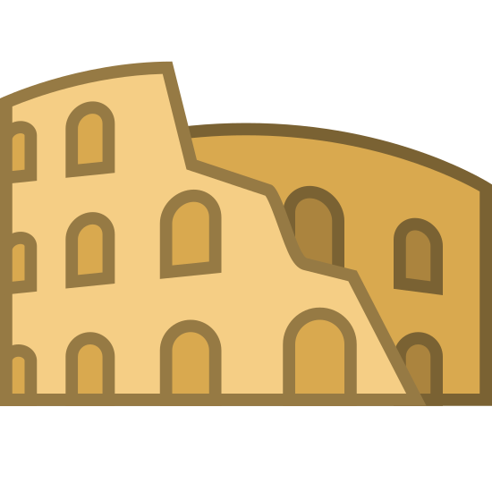 Koloseum icon. The roman colosseum viewed from the side, long abandoned and falling apart at the top right. Jagged edges form what used to be a cylindrical shape, but much is missing.