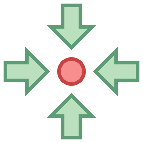 Zebrać icon. This logo has a small filled in circle in the very center. Surrounding this dot are four arrows. Each arrow has a short tail and are pointing toward the circle from the directions north, east, south, and west.