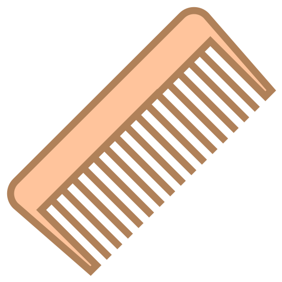 Grzebień icon. The comb is small with tons of little sharp blades lined up along the edge so that you can do your hair. It has a handle to grasp onto as you run it through your hair.