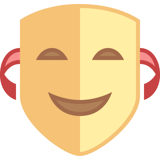 Komödie icon. The comedy icon is a face that looks similar to an inverted triangle. The two eyes are semi-circle shaped, and filled in black. The mouth is open in a smile, with the corners upturned in an almost half moon shape.