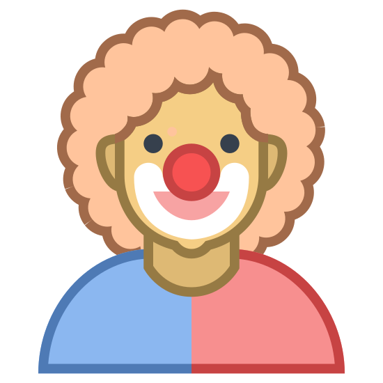 Comedy 2 icon. This is a rendering of a clown wearing a hat with a rounded top, a circular nose and a curved large smile. It does not depict his eyes or other facial features.