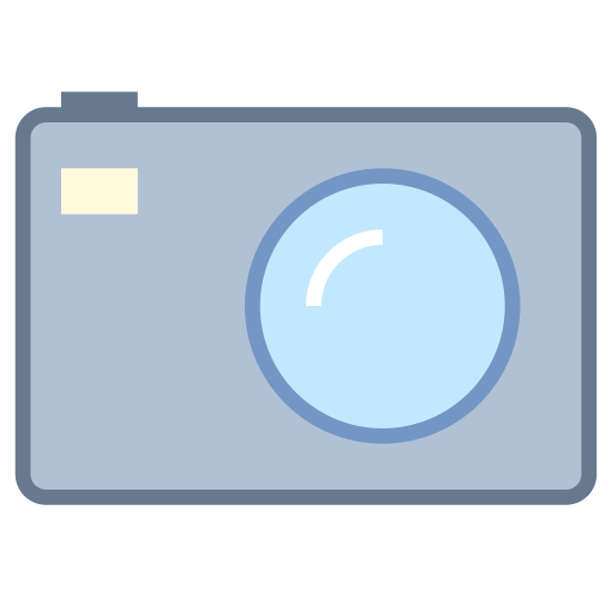 Компактная камера icon. The icon shows a hand-held picture camera with large round lens and a flash in the upper corner. The camera is rectangular with a raised portion above the lens where a viewing port would be.