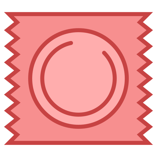 Contraception icon. The icon is a simplified depiction of a condom prophylactic in its wrapper. The rigid ring of the base of the condom is visible through the packaging, which itself terminates with jagged edges, suggesting that it was originally part of a strip of the same.