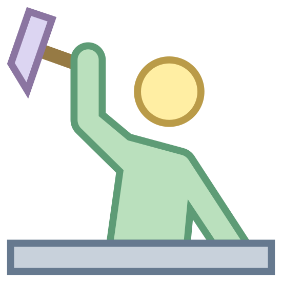 Construction Worker icon. Representation of a man hitting a board with a hammer. base is a rectangle. man's head is a circle. torso and arms drawn as connected rectangles. the hammer looks like a trapezoid and is in the top left corner of the picture.