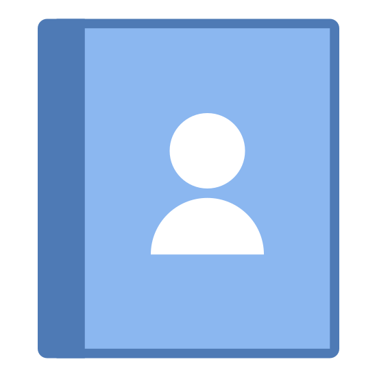 Kontakty icon. The icon is of a gender-less human face and upper torso. The gender-less human is also wearing a shirt. It could be thought to resemble a two dimensional bobble head.