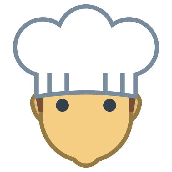 Chef icon. This is a picture of a man's face with no eyes, ears, or mouth. you can see he is wearing a chef's hat that is kind of droopy. the man has a bit of hair showing from under the hat