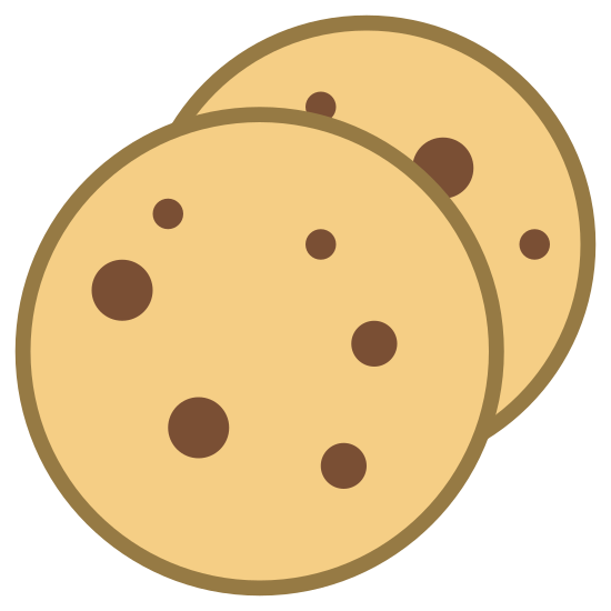 Cookies icon. It is an image of two overlapping cookies. The cookie in the foreground is a perfect circle with five smaller dots of various size in the center. The dots indicate chocolate chips or other cookie ingredients. The cookie in the background is sticking out of the top right corner of the front cookie. The second cookie also has dots.