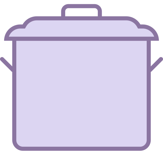 Cooking Pot icon. This icon is a large stove pot for cooking. It has a lid with a handle on it. It also has two handles on each side of the pot to pick it up.