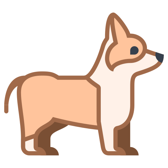 Corgi icon. There is a small dog standing with it's head up. One of it's back legs is ahead of the other so it appears to be walking forward. The dogs look resembles the Corgi breed.