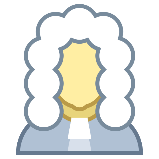 Judge icon. This is a picture of a man from the chest up. you cannot see his face but you can tell from the outline that it's a man. he's holding a gavel and wearing a tie.