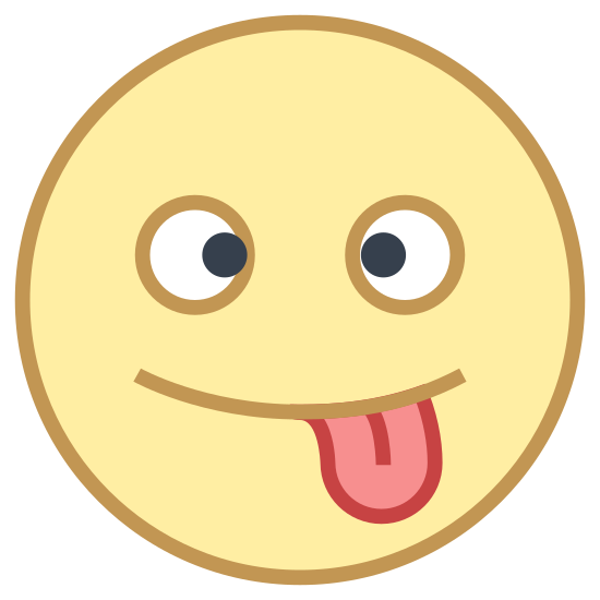 Fou icon. This is an icon representing the emotion, crazy. It is an emoji with just the head of the stick figure. The eyes are closed and curvy lines that are flipped for each side. It is sticking its tongue out as well.
