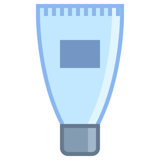 Tube icon. It's a logo of a cream tube with its cap on bottom and the tube going up from it. The tube is wider than the cap and there is a square in the middle of the tube and a line across the top.