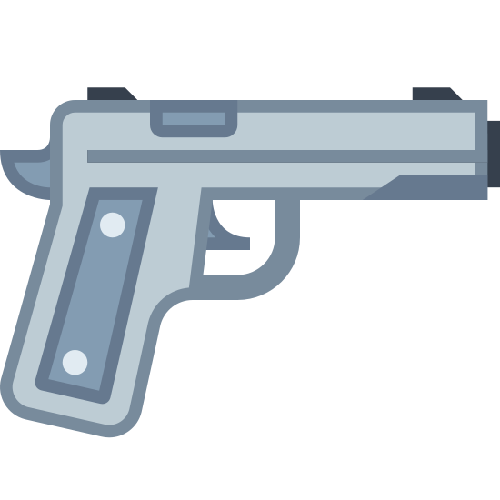 Przestępstwo icon. This is a picture of a revolver type gun that has a trigger and three small spikes (two on the top sides and one on the back of it by the handle. The gun doesn't have any writing on it, and appears to be small.