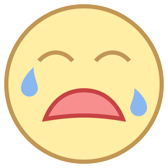 Llorando icon. It is a smiley face crying.  There are two eyebrows, a downturned mouth, and a teardrop on each side of cheek.  The facial features are contained in a round head.  These features are on most keyboards.