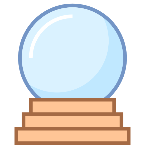 Kryształowa kula icon. Its a picture of a crystal ball. There is a circle resting on top of cone shaped stand. The stand that holds the circle is made of three circles stacked on top of each other forming a cone, with the base being the largest circle and the top circle being the smallest.