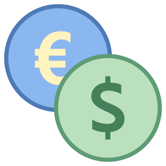 Currency Exchange icon. The icon shows two circles, the one at the bottom right overlapping the one at the top left. Inside the top left circle is a C shape with two horizontal lines running through it, the bottom right circle has a dollar sign in it. The bottom left and top right near the circles are two curved arrow pointing to them.