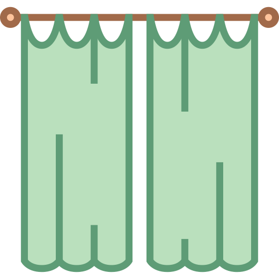 Zasłony icon. The icon shows a set of two tall curtains that are hanging from a rod with ruffles on the bottom of them. They are hanging side by side with a small gap between them.