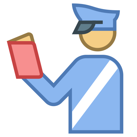 Customs Officer icon. This is a customs officer. The book he is holding, has laws the he will enforce, on behalf of the government.