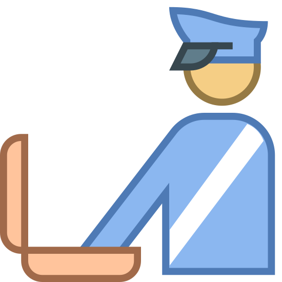 Таможня icon. It's a simple image of a person wearing a cap (that looks like a police officer's hat) and sash that cuts across the chest. The person has it's arm extended into a suitcase that is open.