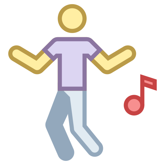 Tanzen icon. An icon of dancing consists of a man or woman standing up and his or her legs and arms are moving around. The icon will also have a music note next to the person to show that music is being played and the person is dancing to it.