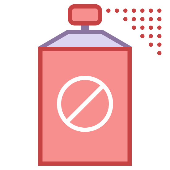 Śmiertelny Spray icon. The deadly spray icon is a bottle with a lid on the top. On the bottle there will be a circle and inside the circle there is a diagonal line to show it should not be used. The top of the cap there are little dots coming out to show that there are particles coming out of the bottle.