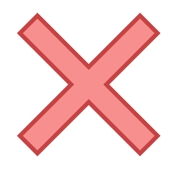 Löschen icon. This is a very simple icon that is composed of two fairly long lines that meet in the middle and cross over each other to create an X shape. It looks just like the shape a pirate might use when marking a map to indicate where he buried his treasure.