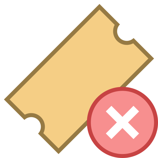 """Delete Ticket icon. It's an image of a movie ticket or raffle ticket oriented diagonally with a dashed line running across the top to indicate a perforation. There is a plus symbol enclosed in a circle placed over the lower center line of the ticket to indicate: """"add ticket."""""""